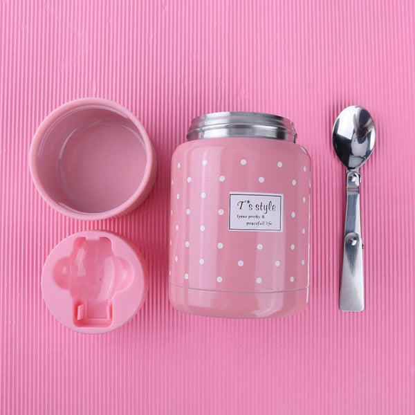 lunch box pour soupe rose inox