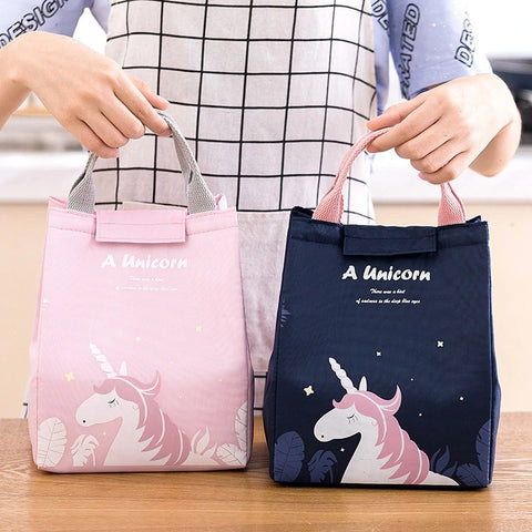 Lunch bag isotherme bleu et rose licorne