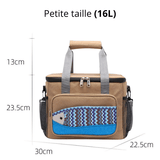 Glaciere souple 16L marron motif poisson dimension