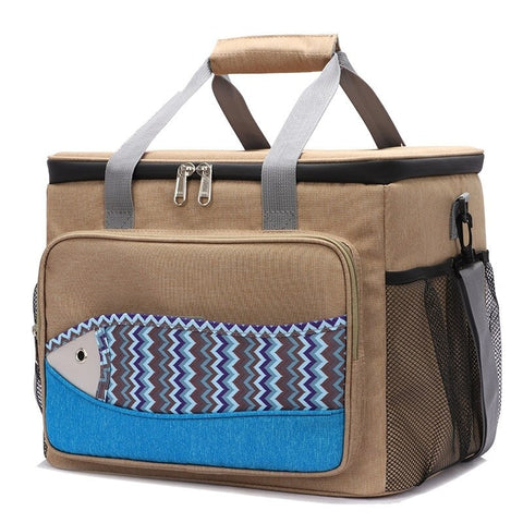 Glaciere souple 26L marron motif poisson