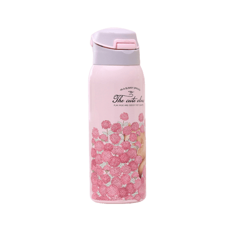 bouteille isotherme en acier inoxydable nature fleurie rose