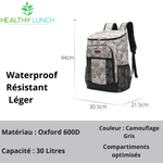 sac à dos isotherme camouflage gris 30 litres