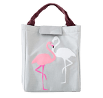 Sac à lunch isotherme gris motif flamant rose