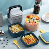lunch box carre rond couleur gris rose bleu