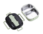 lunch box acier inoxydable verte deux compartiments