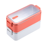 lunch box isotherme deux etages rose et blanc