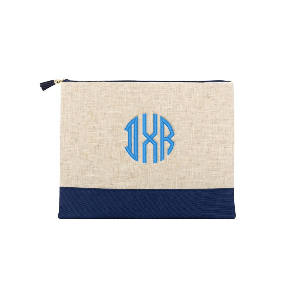 Monograms For Me Navy Monogrammed Linen Pouch