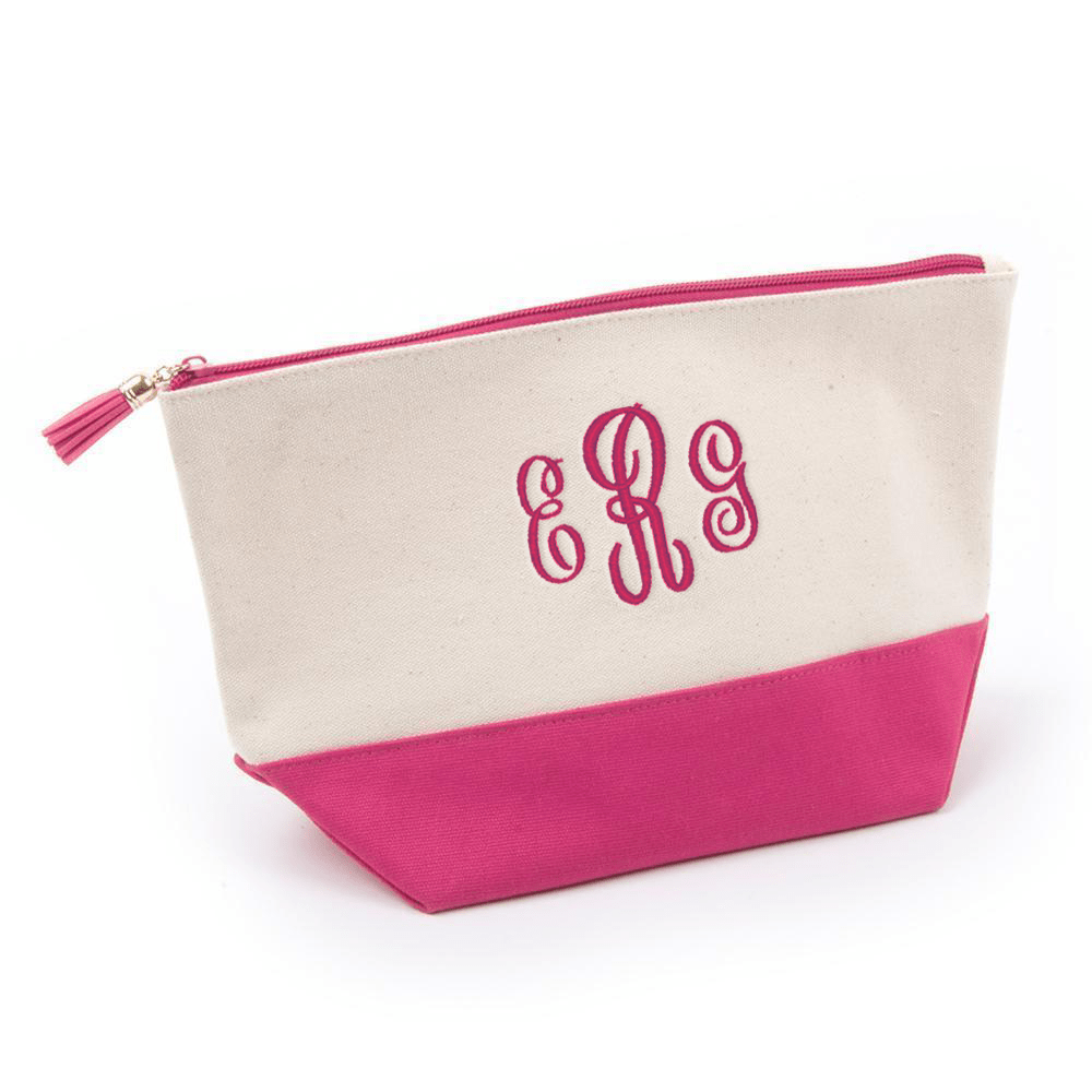 Monograms For Me Pink Canvas Cosmetic Pouch