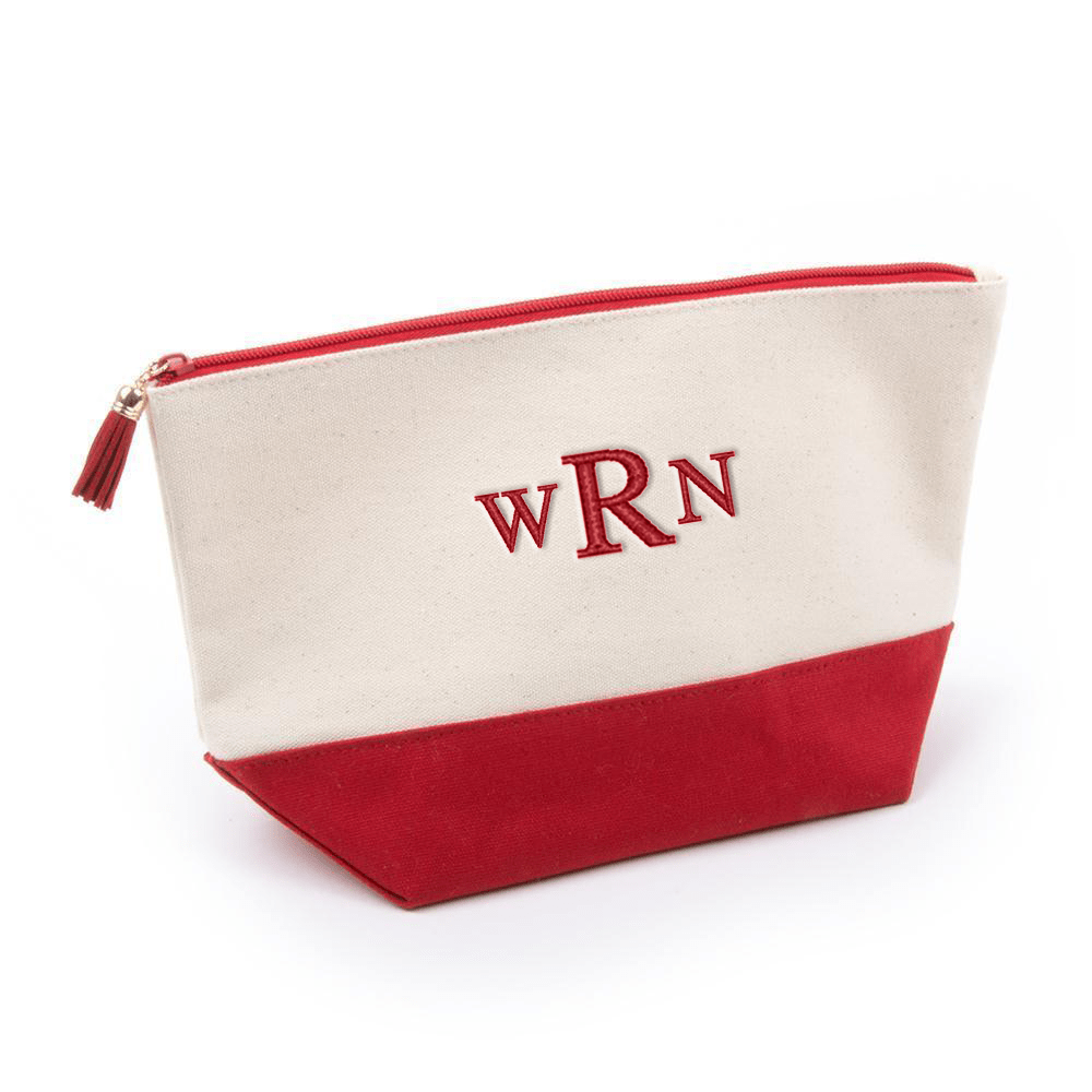 Monograms For Me Red Canvas Cosmetic Pouch