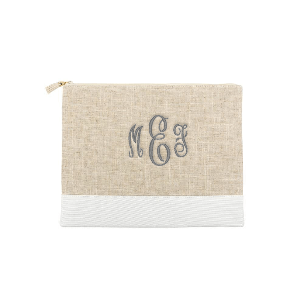 Monograms For Me White Monogrammed Linen Pouch