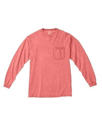 vendor-unknown Apparel Small Monogrammed Long Sleeve Pocket Tee - Watermelon