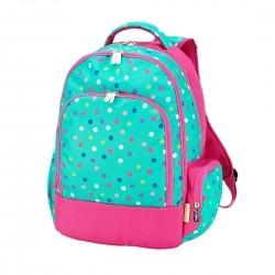 vendor-unknown Back To School Hot Pink / Curly Q Script Monogrammed Backpack - Lottie