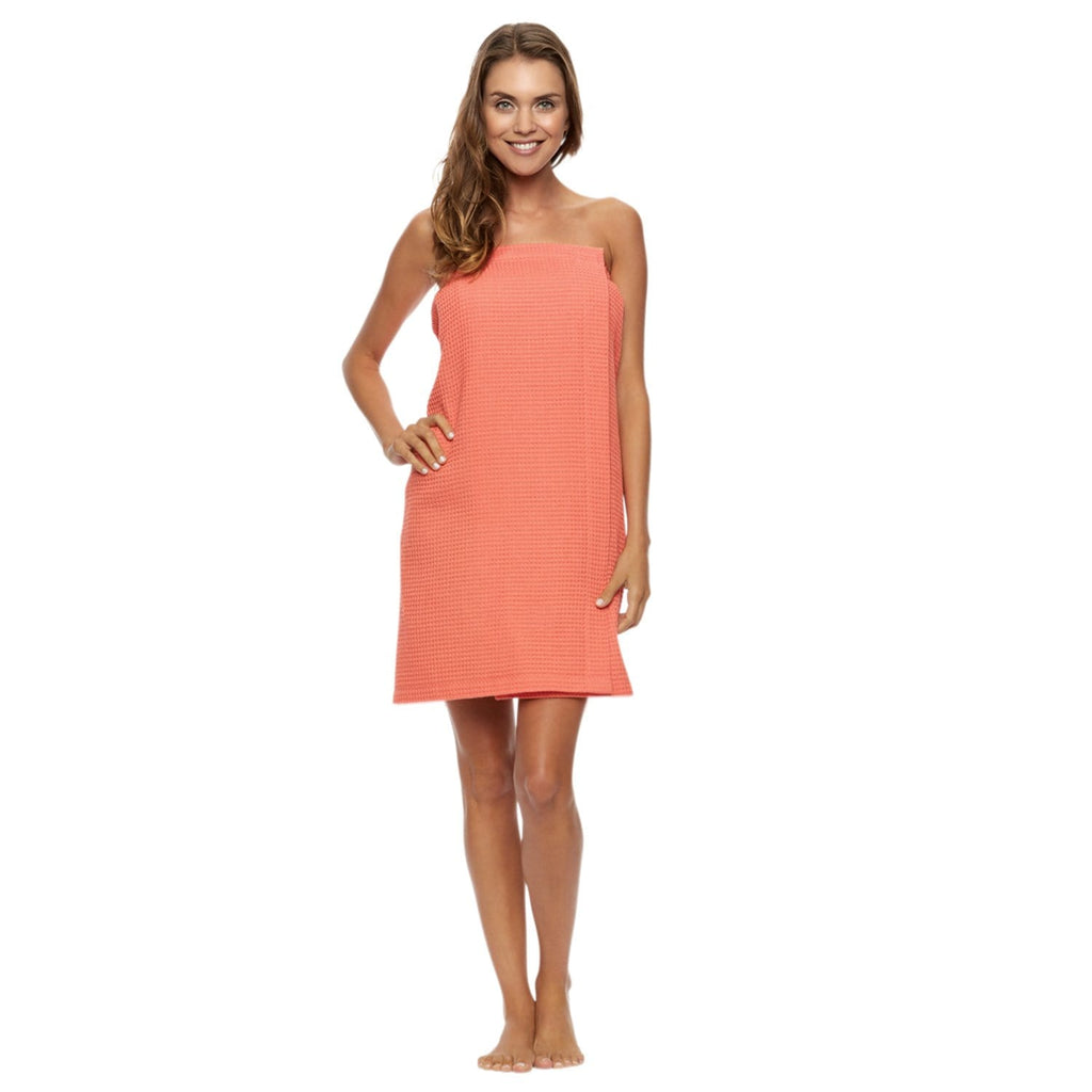 vendor-unknown College Bound Coral Monogrammed Waffle Weave Spa Wrap - Available in 11 colors