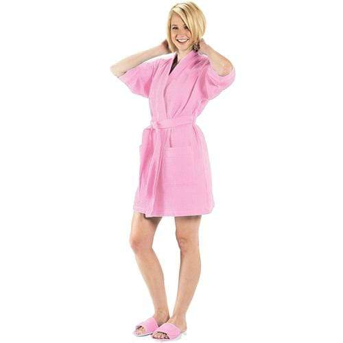 vendor-unknown College Bound Light Pink Monogrammed Waffle Weave Kimono Robe - Available in 12 colors