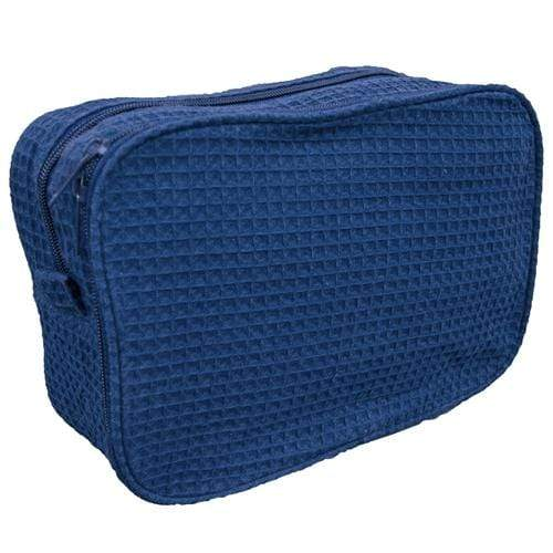 vendor-unknown College Bound Navy Monogrammed Waffle Weave Cosmetic Bag - Available in 16 colors