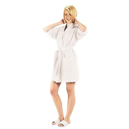 vendor-unknown College Bound White Monogrammed Waffle Weave Kimono Robe - Available in 12 colors