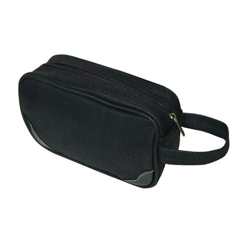 vendor-unknown For the Guys Black Monogrammed Scotch Grain Dopp Kit