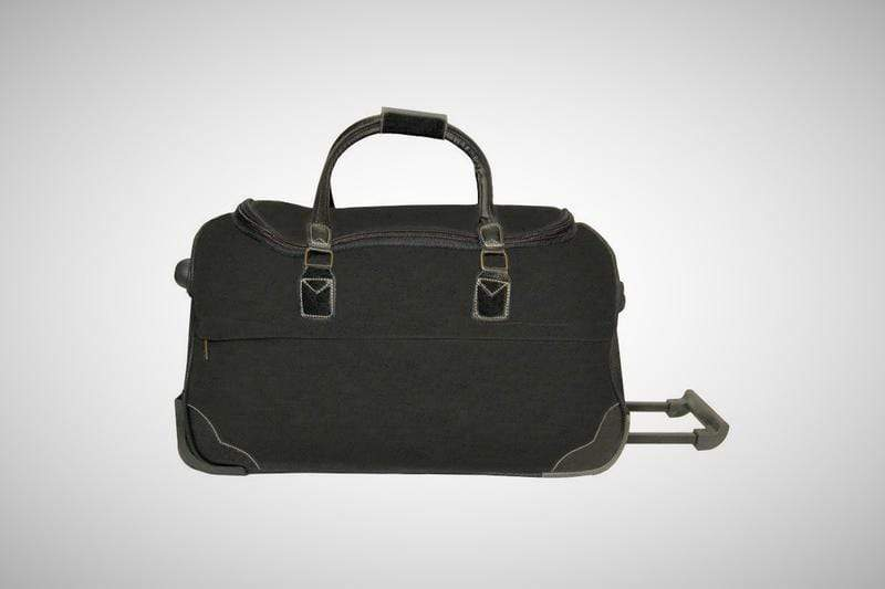 vendor-unknown For the Guys Black Monogrammed Scotch Grain Rolling Bag