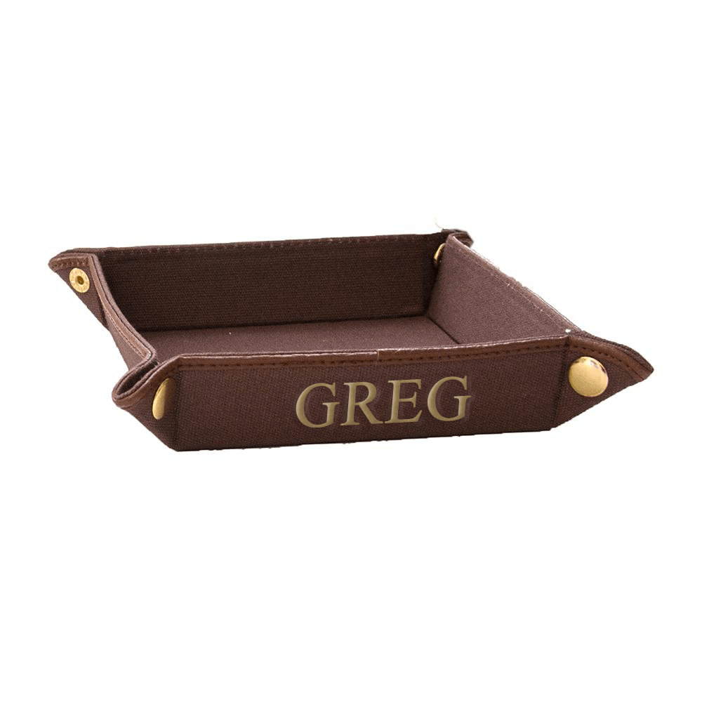 vendor-unknown For the Guys Brown Monogrammed Fabric Valet Tray