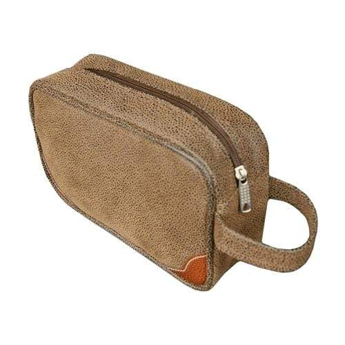 vendor-unknown For the Guys Brown Monogrammed Scotch Grain Dopp Kit