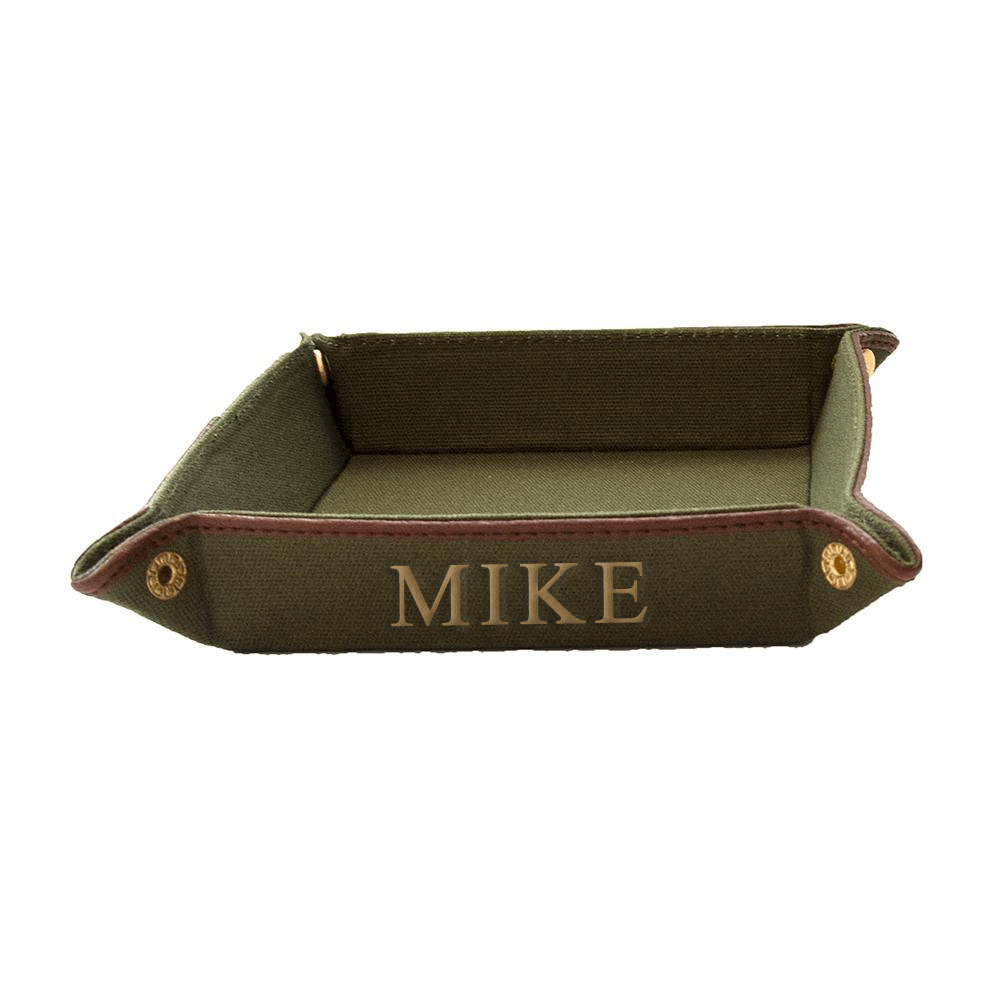 vendor-unknown For the Guys Olive Monogrammed Fabric Valet Tray