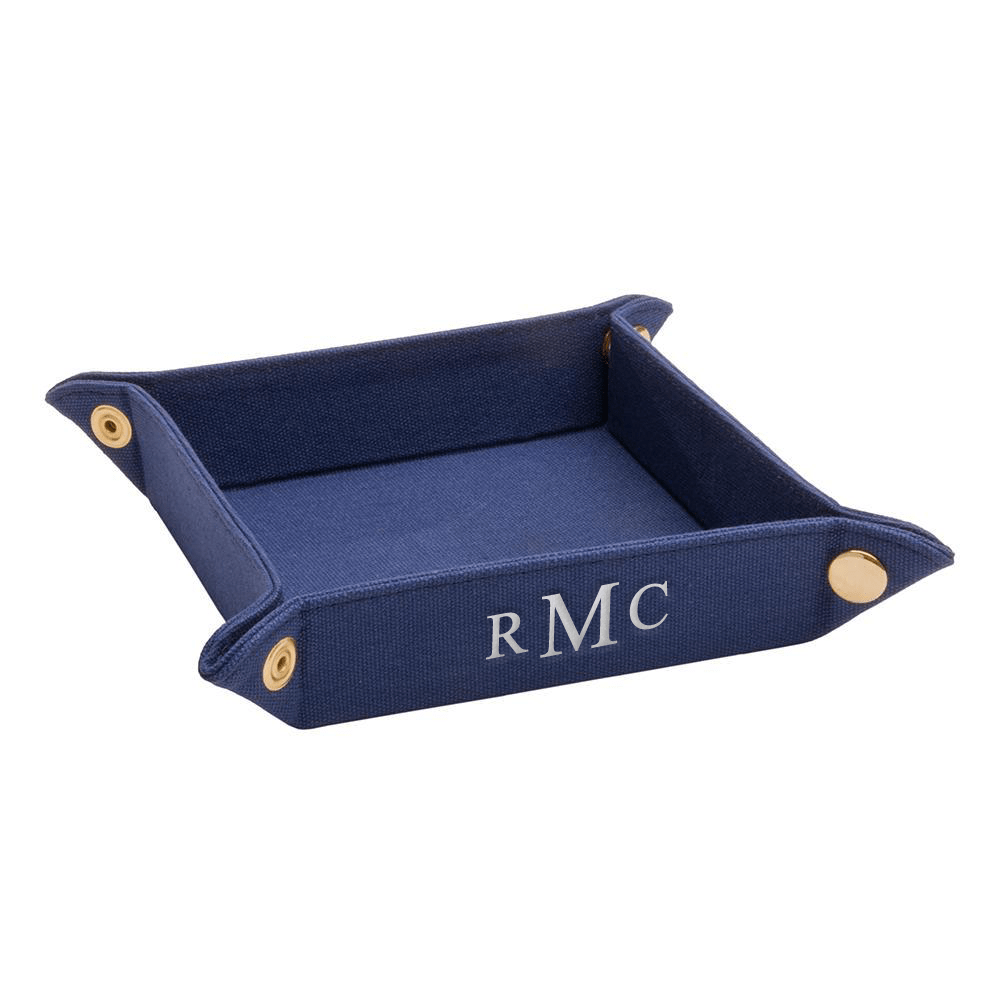 vendor-unknown For the Guys Royal Blue Monogrammed Fabric Valet Tray