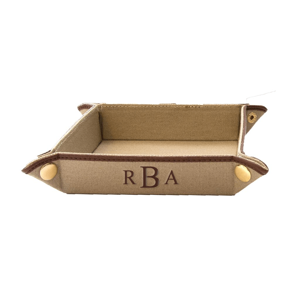 vendor-unknown For the Guys Tan Monogrammed Fabric Valet Tray