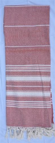 vendor-unknown Fun4Summer Monogrammed Turkish Towel - Red Stripe