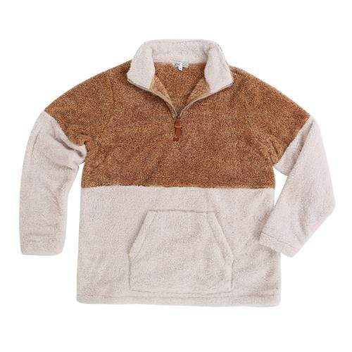 vendor-unknown JUST IN! Camel/Cream / Small Monogrammed Two Tone Sherpa