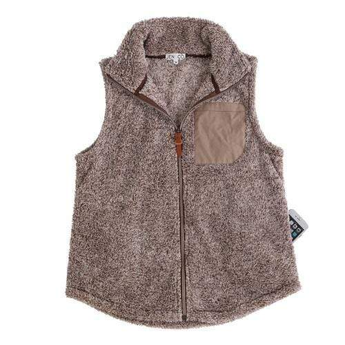 vendor-unknown JUST IN! Coffee Monogrammed Faux Pocket Sherpa Vest