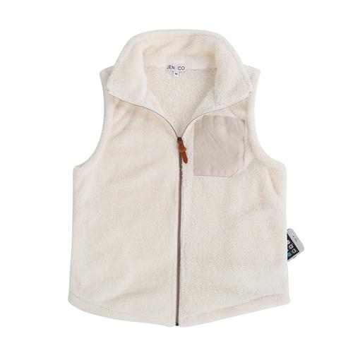 vendor-unknown JUST IN! Cream Monogrammed Faux Pocket Sherpa Vest