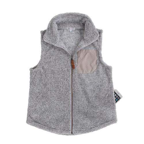 vendor-unknown JUST IN! Gray Monogrammed Faux Pocket Sherpa Vest