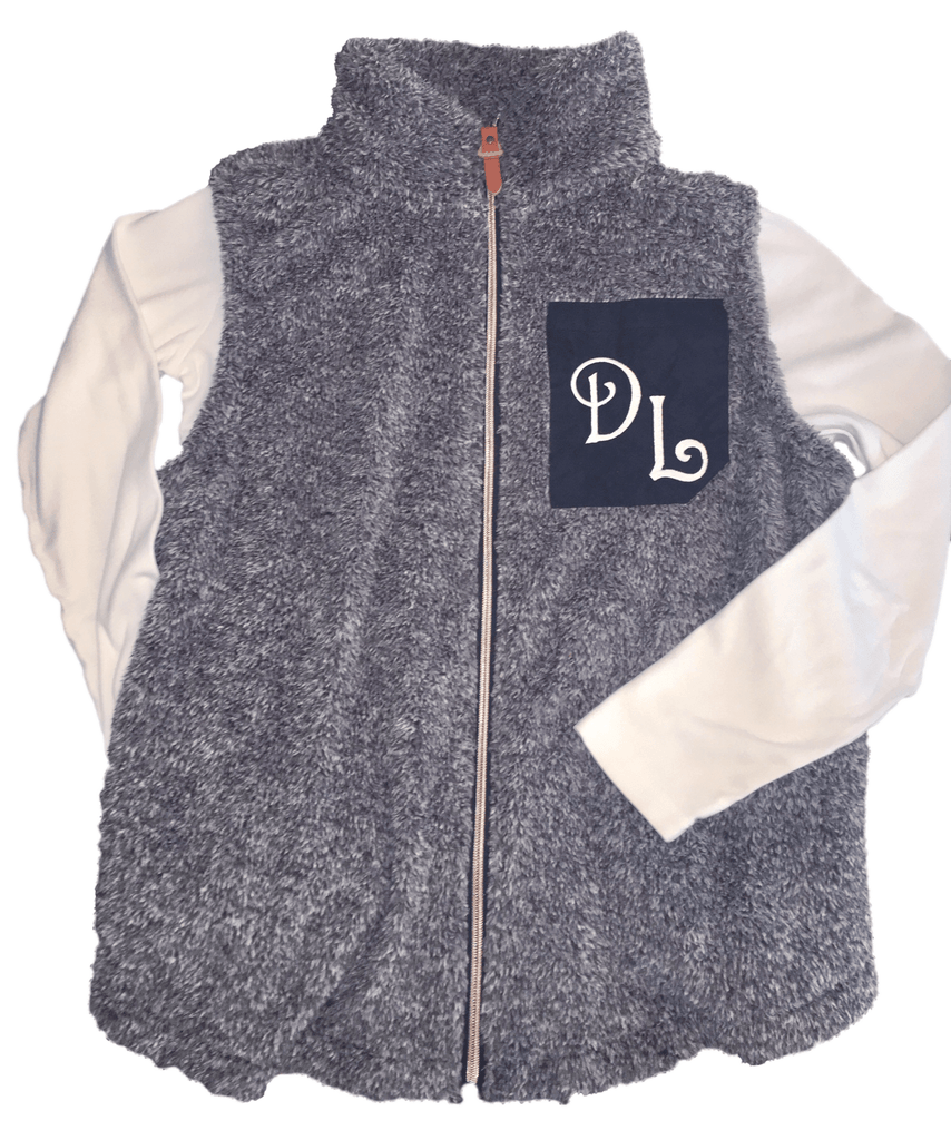 vendor-unknown JUST IN! Monogrammed Faux Pocket Sherpa Vest