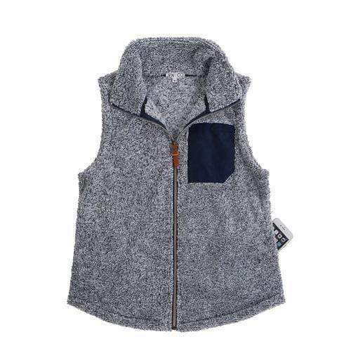vendor-unknown JUST IN! Navy Monogrammed Faux Pocket Sherpa Vest