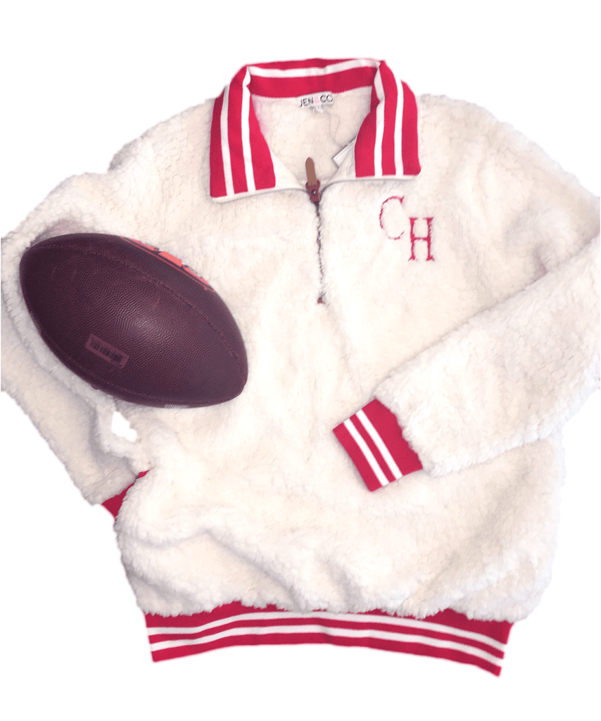 vendor-unknown JUST IN! Small / Red Monogrammed Varsity Sherpa