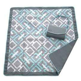 vendor-unknown Off to the Beach Blue Geometric Monogrammed Travel Picnic Blanket