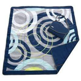 vendor-unknown Off to the Beach Blue Swirl Monogrammed Travel Picnic Blanket