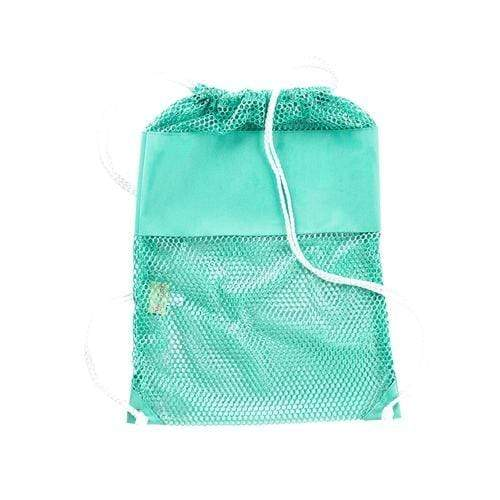 vendor-unknown Off to the Beach Mint Monogrammed Mesh Backpack