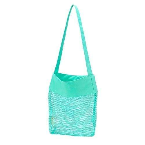 vendor-unknown Off to the Beach Mint Monogrammed Mesh Beach Tote