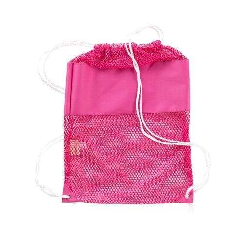 vendor-unknown Off to the Beach Pink Monogrammed Mesh Backpack
