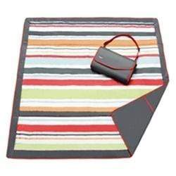 vendor-unknown Off to the Beach Red/Gray Stripe Monogrammed Travel Picnic Blanket