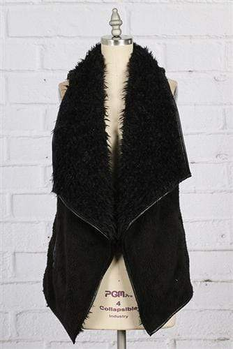 vendor-unknown Outerwear Black / Small Monogrammed Fuzzy Vest