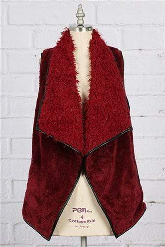 vendor-unknown Outerwear Cranberry / Small Monogrammed Fuzzy Vest