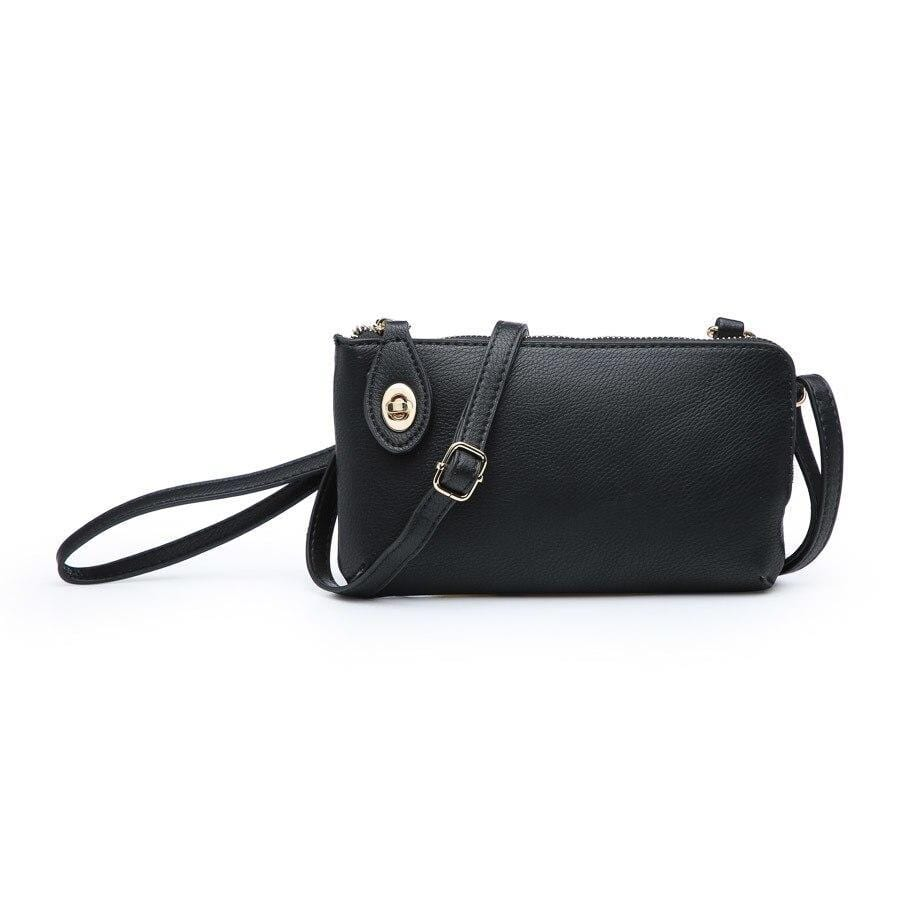 vendor-unknown Purses Black Monogrammed Twist Lock Wristlet