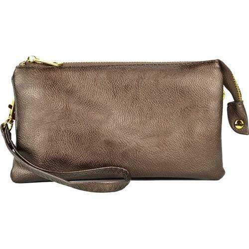 vendor-unknown Purses Bronze Monogrammed Original Crossbody Clutch