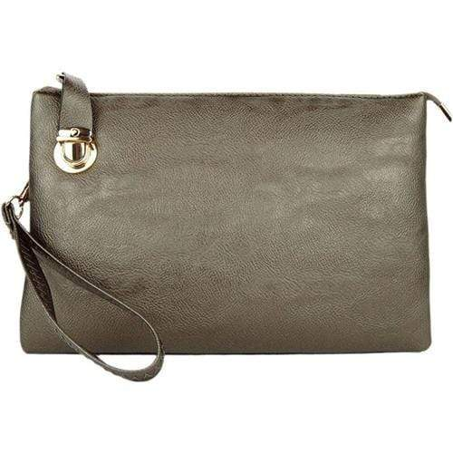 vendor-unknown Purses Pewter Monogrammed Large Clutch