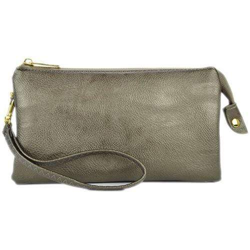 vendor-unknown Purses Pewter Monogrammed Original Crossbody Clutch