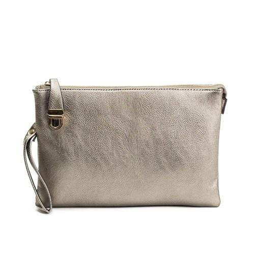 vendor-unknown Purses Silver Monogrammed Large Clutch