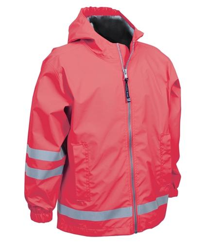 vendor-unknown Rain Jackets Small / Coral Monogrammed Youth Rain Jacket