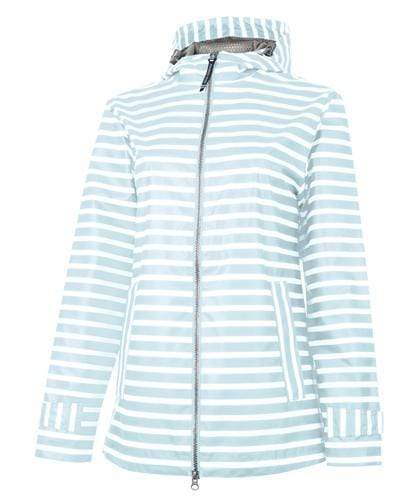 vendor-unknown Rain Jackets XSmall Monogrammed Rain Jacket - Aqua Stripe